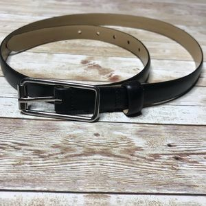 Banana Republic Genuine Leather Black-Silver Belt